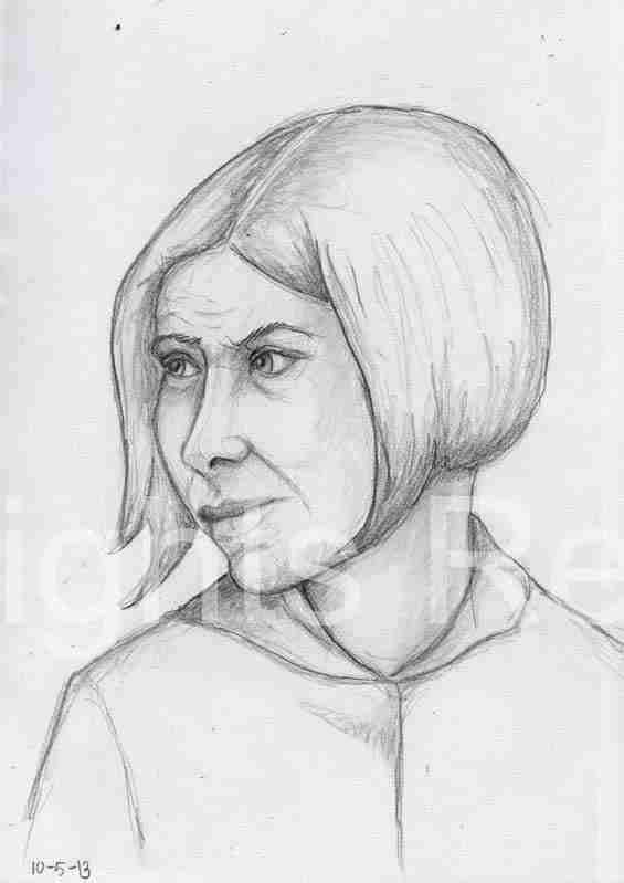Woman looking to side drawing