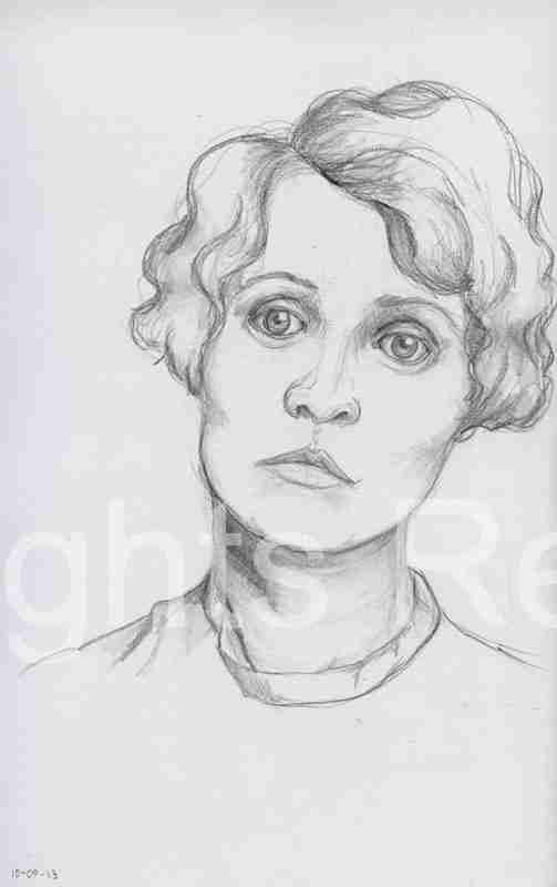 Woman with sad eyes drawing